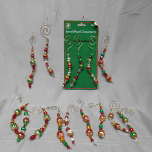 Christmas House jewel/pearl ornaments 15 pieces